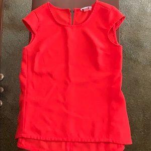 Red/orange cap sleeve blouse